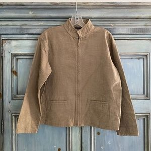 Eileen Fisher light taupe  cotton zip up jacket